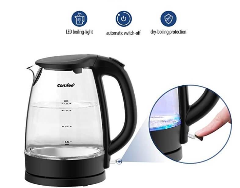 COMFEE' Glass Electric Tea Kettle no plastic