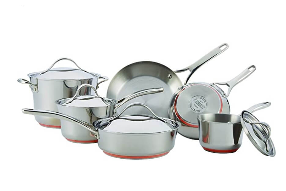 Stainless steel cookware pans and pots set