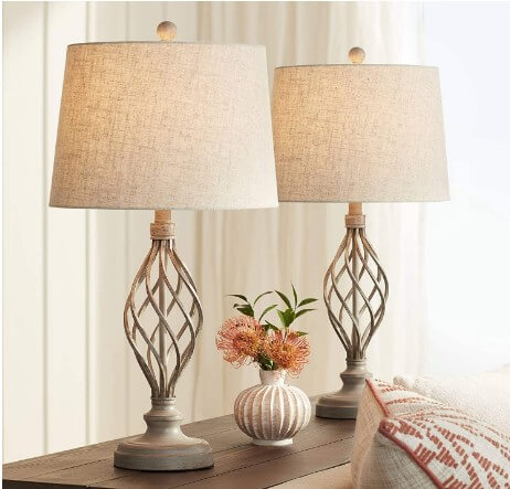 Franklin Iron Works - Annie iron scroll table lamps