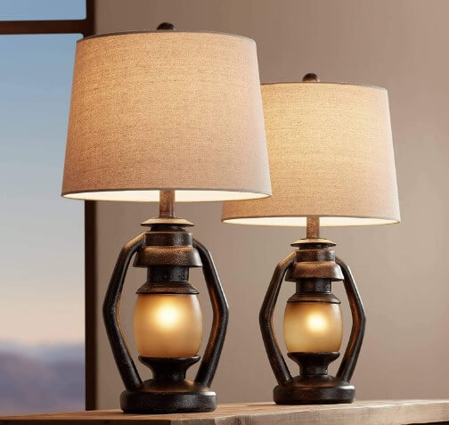 Horace Rustic Farmhouse Table Lamps- Franklin Iron Works