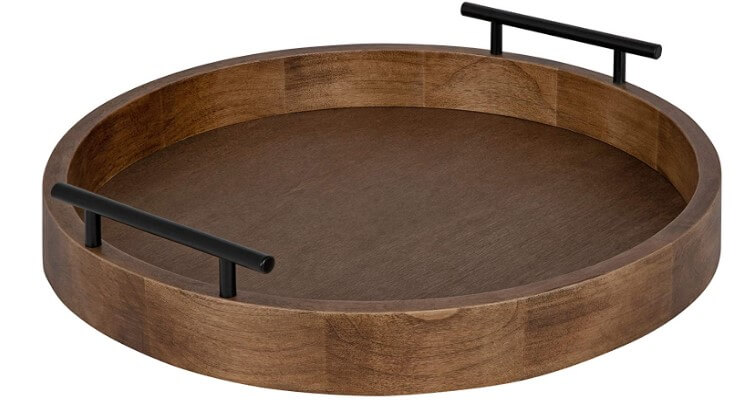 Kate and Laurel Modern Round Wooden Tray