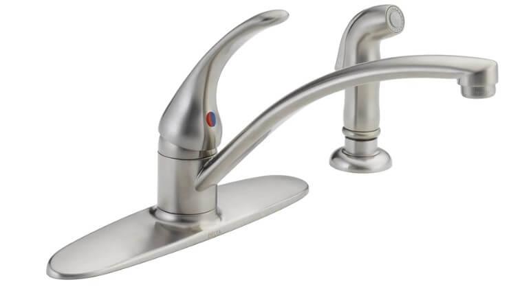 DELTA Foundations Single-Handle Kitchen Sink Faucet.