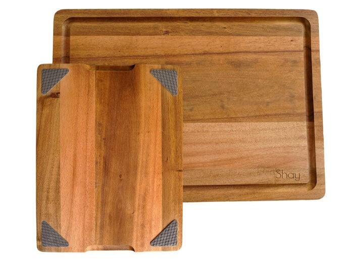 Large Acacia Wood Cutting Board Non Slip with Juice Groove